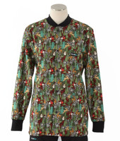 Scrub Med Womens Print Crew Neck Lab Jacket Reindeer Games