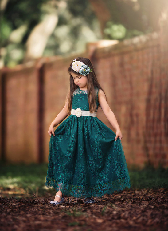 ALEXANDRA DRESS & BELT SET-EMERALD