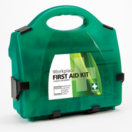 BS8599-1 Medium First Aid Kit  in a sturdy green box with wall mounting bracket.