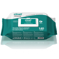 Clinell Universal Wipes Maceratable in a dispenser pack of 140 wipes