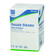 Absorbent Cotton Gauze Swabs BP 10cm x 10cm, 8ply, Non Sterile, Type 13