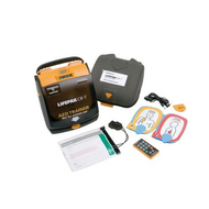 Lifepak CR Plus Training Defibrillator(AED) with remote control, quik-pak training electrodes with cable and connector, batteries and carry case.