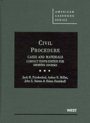 Civil Procedure Cases And Materials Compact Edition