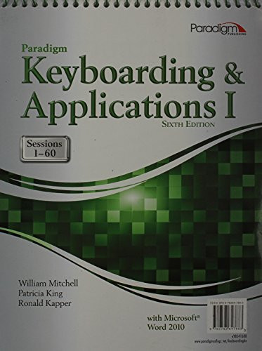 Paradigm Keyboarding And Applications I