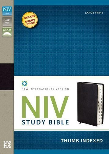 NIV Study Bible Large Print Bonded Leather Black Indexed Red Letter