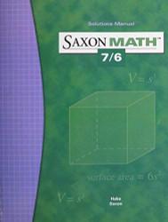 Saxon Math 7/6 Solutions Manual