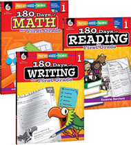 180 Days of Reading Writing and Math for First Grade 3-Book Set