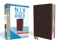 NIV Thinline Bible Large Print Bonded Leather Burgundy Indexed Red Letter