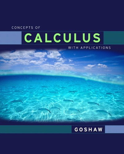 Concepts Of Calculus With Applications