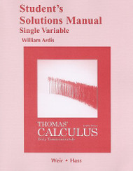 Student Solutions Manual Single Variable For Thomas' Calculus Early Transcendentals