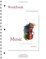 Workbook Music In Theory and Practice Volume 1 - Bruce Benward