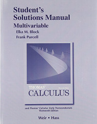 Student Solutions Manual Multivariable For Thomas' Calculus