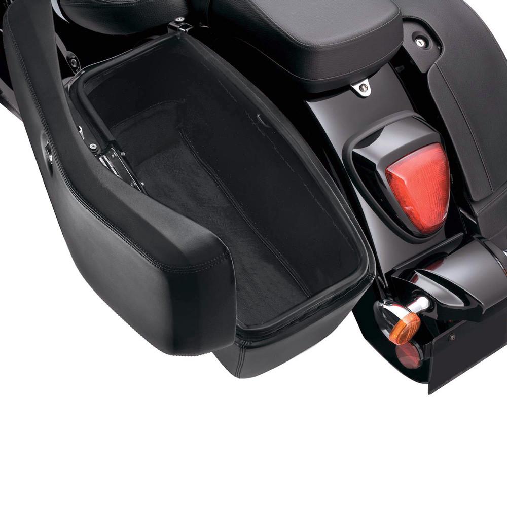 Lamellar Extra Large Shock Cutout Leather Covered Hard Saddlebag