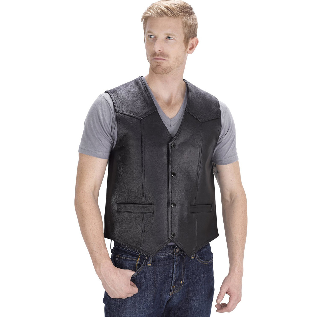 VikingCycle Raider Motorcycle Vest for Men Front Side