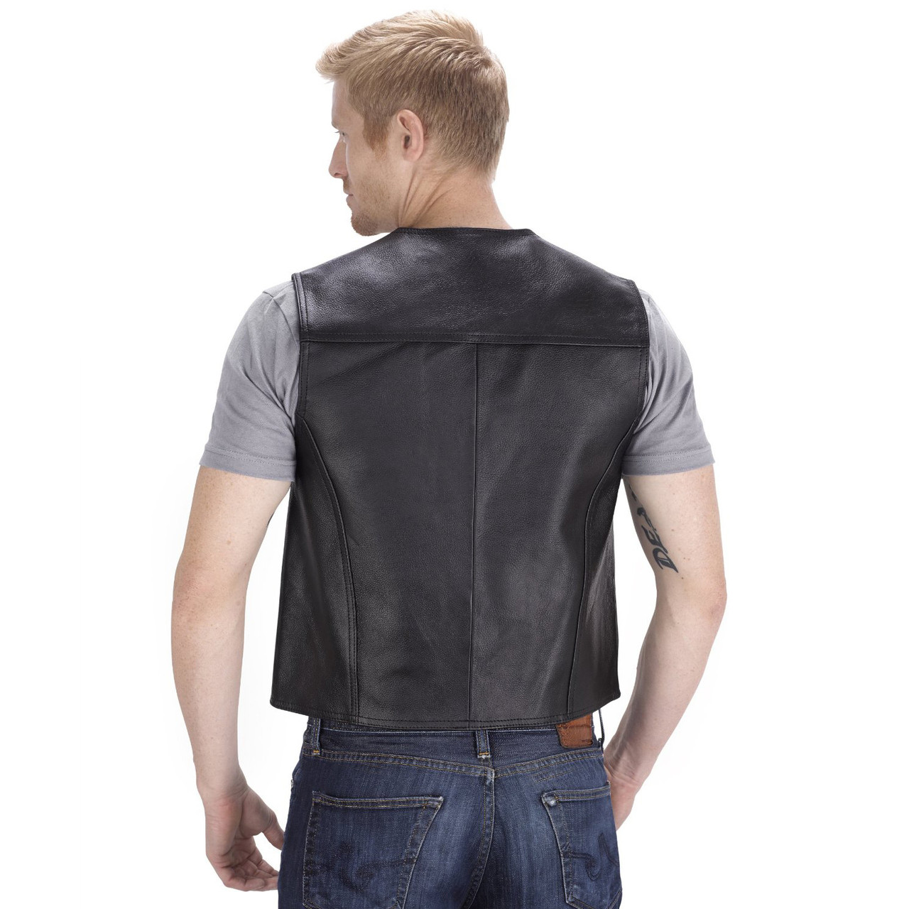 VikingCycle Raider Motorcycle Vest for Men Back Side