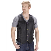 VikingCycle Thorfinn 10 pocket Motorcycle Vest for Men Front View