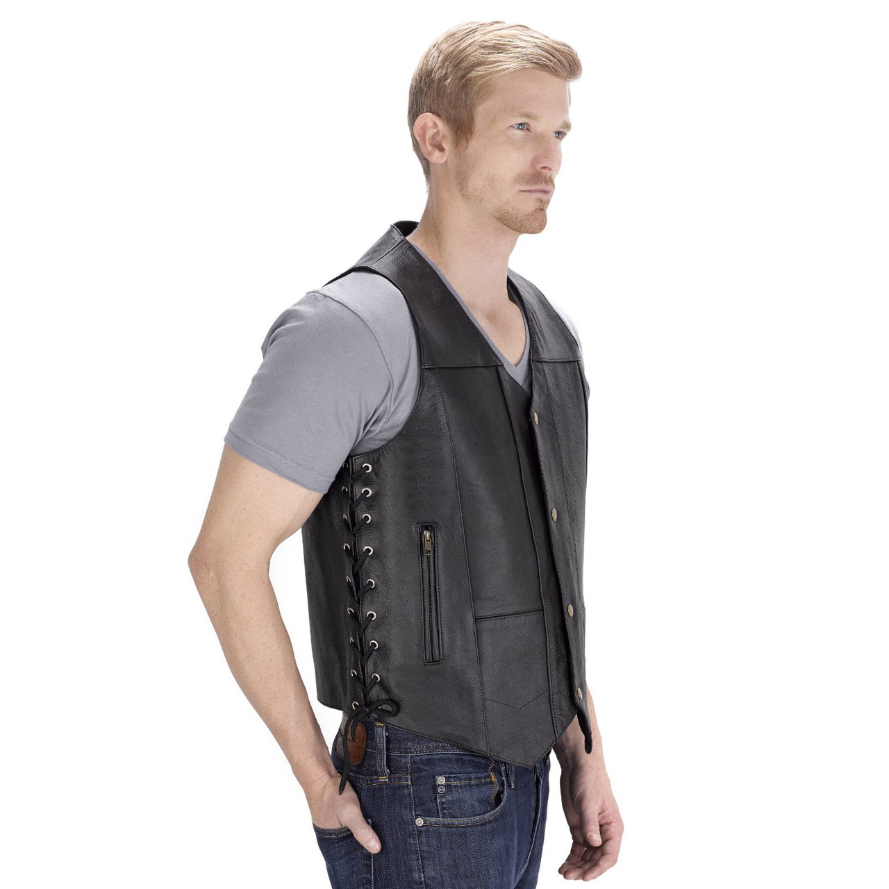 VikingCycle Thorfinn 10 pocket Motorcycle Vest for Men Side View