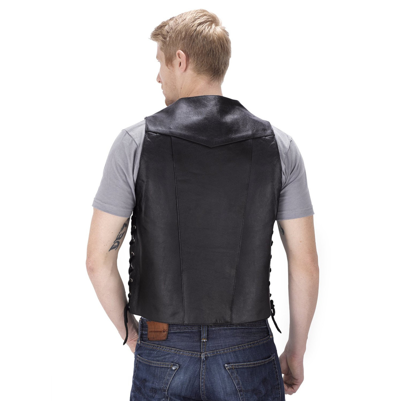 VikingCycle Thorfinn 10 pocket Motorcycle Vest for Men Back View