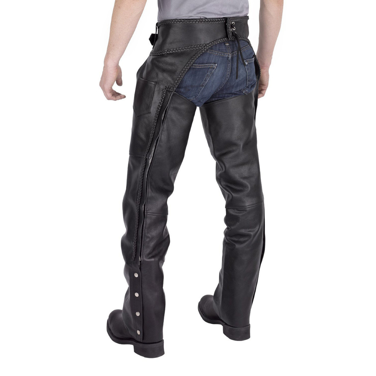 Nomad Usa Braided Motorcycle Leather Chaps Motorcycle
