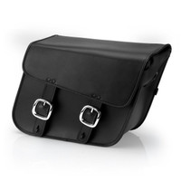 Nomad USA Slanted Large Black Leather Motorcycle Saddlebags with Buckles