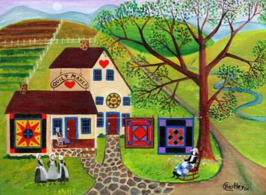 Amish Folk Art Country Quilt Makers Print