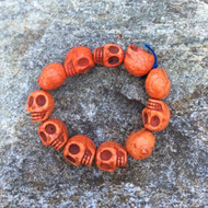 Skull Bracelet, Orange Dyed Howlite Stone on Stretch Cord