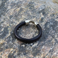 Leather Band Bracelet, Plain Black