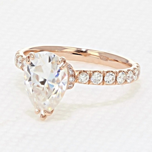 Rose Gold Micro Prong Engagement Ring with Moissanite (CR198R-M)