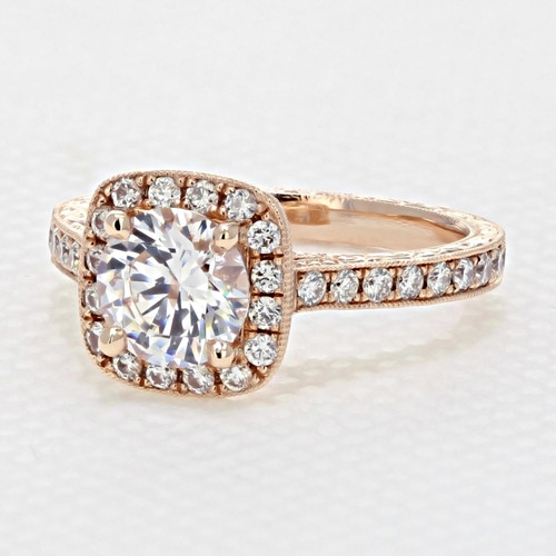 Rose Gold Halo Engagement Ring with 6.5mm Moissanite (CR68R-M)