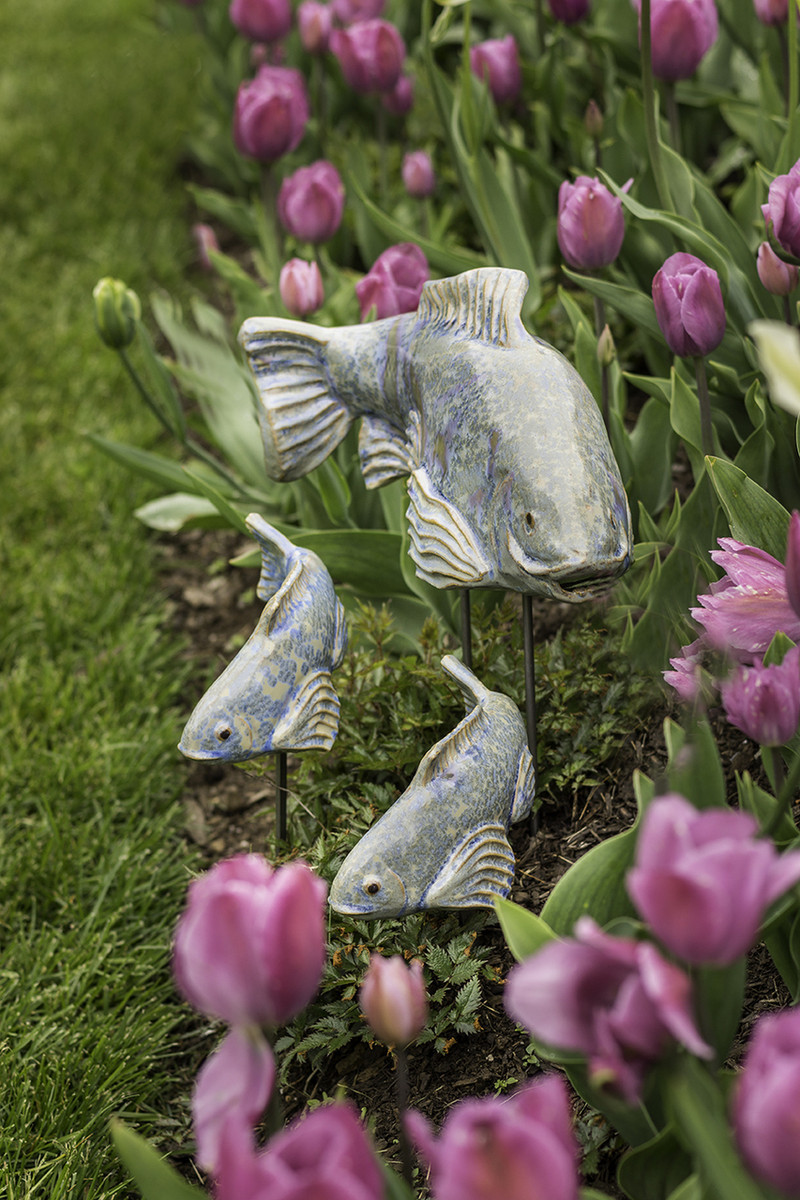 Ceramic garden koi fish in the garden beautiful garden for Garden fish