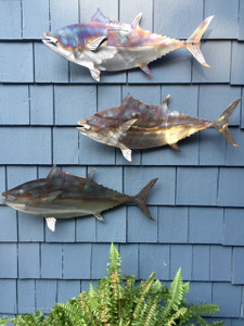 Set of 3 Stainless steel Flamed Tuna for walls