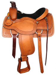 "16"" Basketweave Tooled Circle S Roping Saddle With Suede Leather Seat"