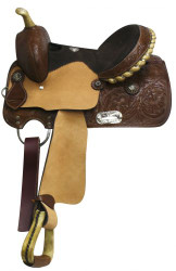 "13"" Double T Youth Saddle with Black Suede Leather Seat"