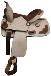 """13"""" Pony/ Youth Rough Out Leather Saddle with Tooled Leather Accents"""