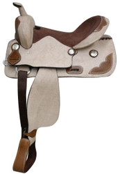 """16""""  Roughed Out Leather Saddle with Tooled Leather Accents with * Full QH Bars*"""