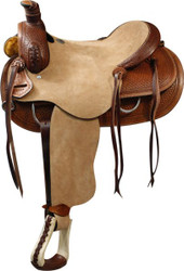 "16"" Double T Roper Style Saddle with Rough Out Leather Hard Seat and Basketweave Tooling"