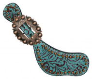 Showman™ Ladies Size Teal Leather Spur Straps with Filigree Print