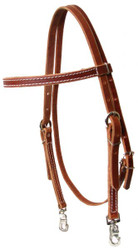 Medium Oil Browband Harness Leather Headstall with Snaps