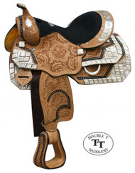 "13"" Double T Fully Tooled Youth / Pony Show Saddle with Diamond Shaped Silver"