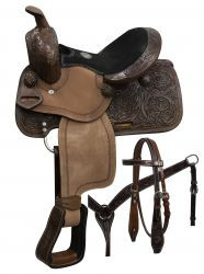 "10"" Double T pony saddle set with copper colored starburst conchos"