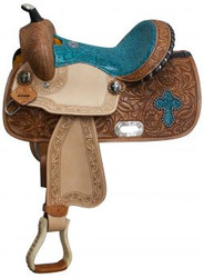 """13"""" Double T Barrel style saddle with teal snake print seat and cross inlay."""