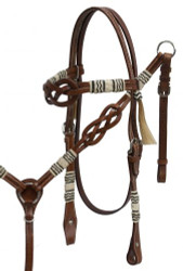 Showman ® Celtic knot headstall and breast collar set with rawhide braided accents.