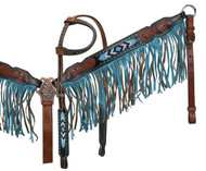 Showman ® Black and medium leather with turquoise beaded inlay and turquoise suede fringe.