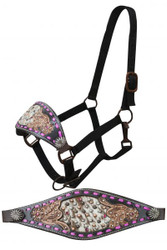Showman ® FULL SIZE Black leather bronc halter with pink buck stitch and floral tooling with a hair on inlay.