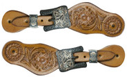 Showman ® Youth size floral tooled spur straps with engraved antiqued brass buckles.