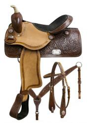 "15"", 16"" Double T barrel saddle set with oak leaf tooling and pink crystal rhinestone conchos."