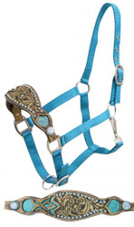 Showman ® 2 ply teal nylon bronc halter with filigree print inlay.