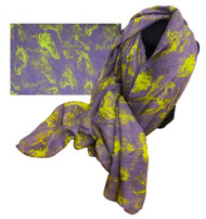 """70"""" X 40"""" Oversized soft, violet voile scarf with lime horse design."""