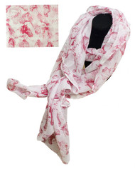"""70"""" X 40"""" Oversized soft, white voile scarf with red horse design."""