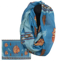"""Blue infinity woven scarf with Indian Cheif print. 66"""" x 28""""."""
